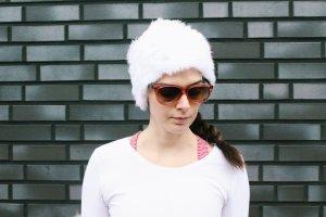 Mütze Weiß Kaninchen Pelz Strick Beanie