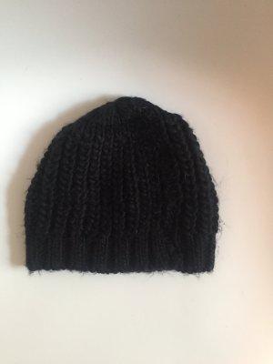Mütze Wollmütze Strickmütze Hat Hut Beanie Cap Schwarz gefüttert