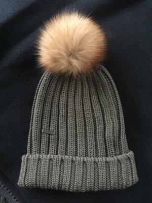 Woolrich Chapeau en tricot gris vert laine