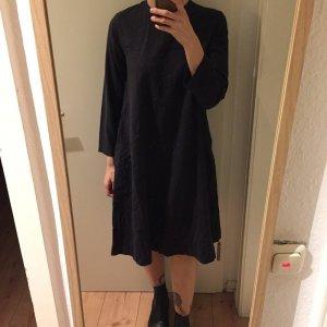 Muji blau graues Oversized Kleid 100% Baumwolle mit Seitentaschen