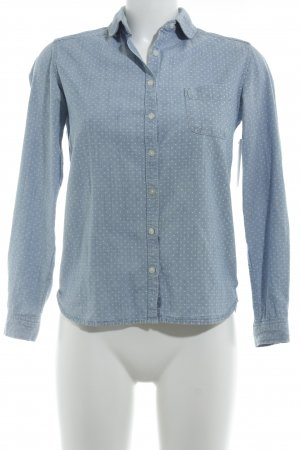 Muji Jeansbluse weiß-himmelblau Punktemuster Casual-Look