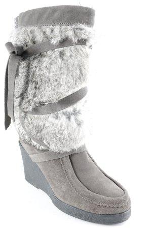Muks Platform Boots grey-light brown fluffy
