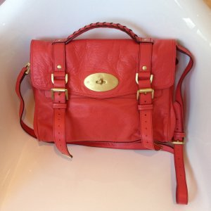 Mulberry Crossbody bag brick red-magenta leather