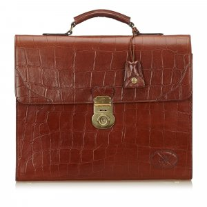 Mulberry Embossed Leather Briefcase