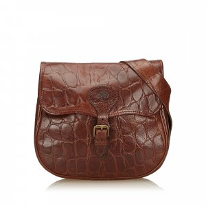 Mulberry Embossed Leather Flap Shoulder Bag