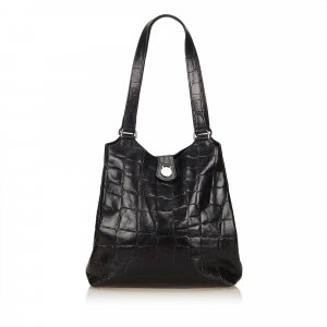 Mulberry Embossed Leather Shoulder Bag