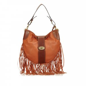Mulberry Fringed Leather Shoulder Bag