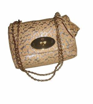 Mulberry Gold Leopard Print Suede Lily Tasche Clutch Crossbody beige gold neu