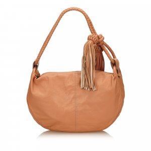 Mulberry Leather Tassel Shoulder Bag