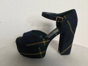 Mulberry, Mary-Jane-Sandalen, Wolle, Tartan, navy-grün, 39, neu, € 500,-