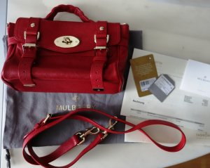 Mulberry Mini Alexa Buffalo Polished Leather Bag Bright Red Tasche Echtleder <3