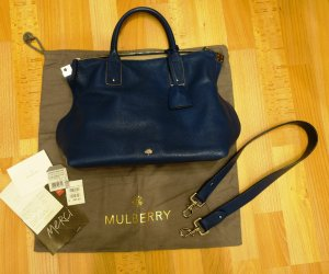 Mulberry Small Alice Zip Tote Bag Slouch Tasche Deep Sea Blue Shopper