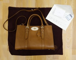 Mulberry UK small Bayswater Double Zip Tote Bag Tasche Oak Leder