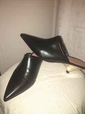 Zara Heel Pantolettes black leather