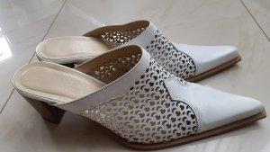 Sandalo con tacco bianco Pelle