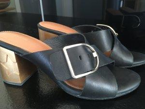 Tommy Hilfiger Heel Pantolettes black-camel leather