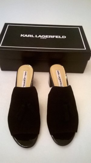 Karl Lagerfeld Heel Pantolettes black suede