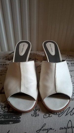Marc O'Polo Heel Pantolettes white-cognac-coloured leather