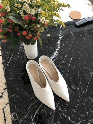 Zara Heel Pantolettes white-beige