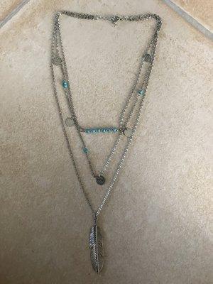 Multi Layer Kette Halskette türkis Feder Federn 3 Lagen silberfarben