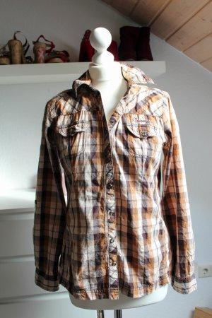 Multiblu Hemdbluse Bluse Hemd karo Größe 36 S Boyfriend Herbst Winter Braun Büro