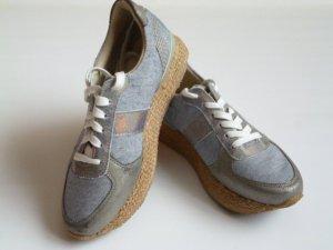 Mundart Plateau-Sneakers, Bastsohle, Jeans-Look mit Leder, Gr. 38