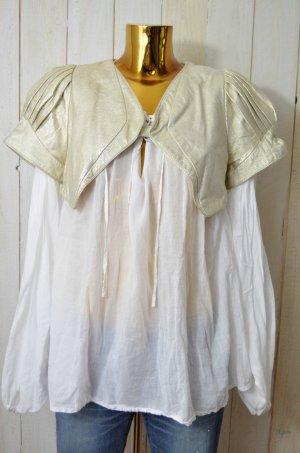 MUNTHE PLUS SIMONSEN Damen Jacke Lederjacke Bolerojacke Vintage Gold Gr. 38 Neu!