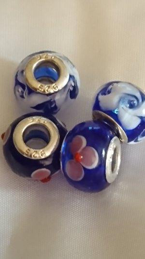 Murano 4 echte Glasperlen mit Blumen und Sterlingsilber 925 Hülsen