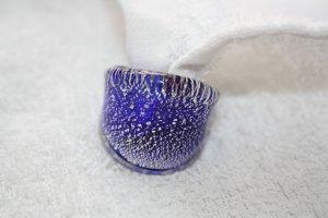 Murano Glasring / Glas Ring blau mit silber / Gr. 54 (17mm) N E U