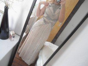 muschelrosa Abendkleid mit Pailletten
