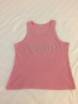 Muskelshirt/Top in rosa mit Strassapplikation