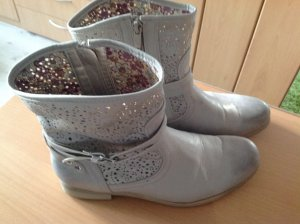 Boots silver-colored leather