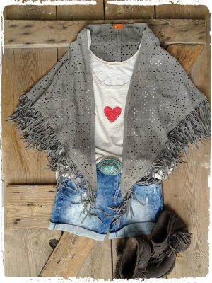 Poncho marrone-grigio