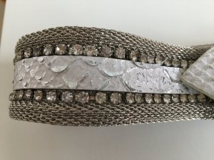 Vintage Belt silver-colored-white metal