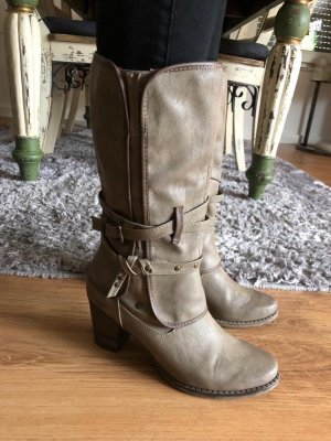 Mustang Shoes Western Boots taupe imitation leather