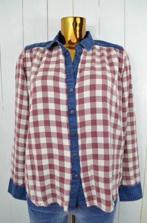 MUSTANG Damen Hemd Cowboyhemd Bluse Kariert Braun Weiß Blau Baumwolle Gr.38