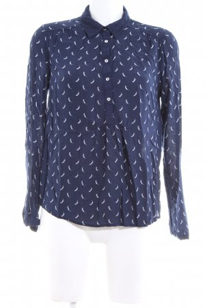 Mustang Hemd-Bluse blau Allover-Druck Business-Look