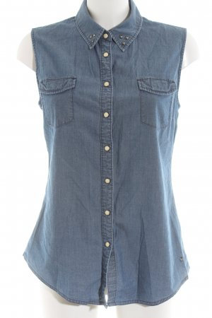 Mustang Jeansbluse blau Casual-Look
