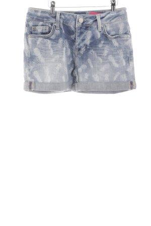 Mustang Jeansshorts kornblumenblau-hellgrau Allover-Druck Beach-Look