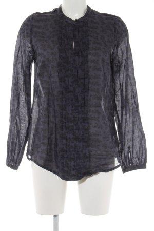 Mustang Langarm-Bluse graublau-schwarz florales Muster Elegant