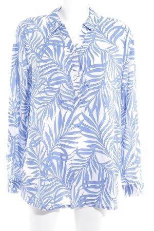 Mustang Langarm-Bluse kornblumenblau-weiß florales Muster Casual-Look