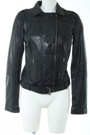 Mustang Leather Jacket black casual look