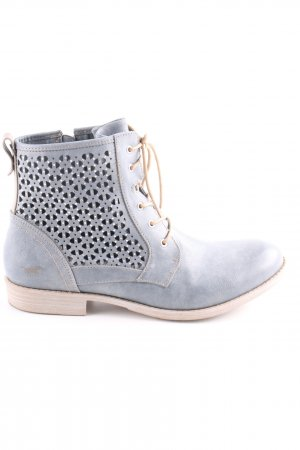 Mustang Lace-up Booties blue-natural white casual look