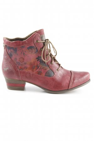 Mustang Lace-up Booties brick red floral pattern extravagant style