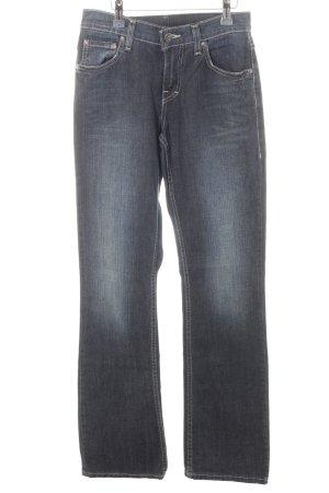 Mustang Straight-Leg Jeans dunkelblau abstraktes Muster Casual-Look