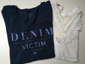 Mustang T-shirt dunkelblau + Spitzenshirt weiß