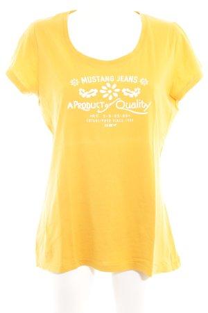 Mustang T-Shirt goldorange-weiß Schriftzug gedruckt Casual-Look