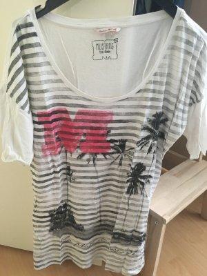 """""""MUSTANG#T-Shirt#Streifen Trend# Palmen#Sommer#schwarz weiß"""