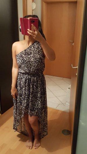 Muster animal Print Kleid ein schulterfrei