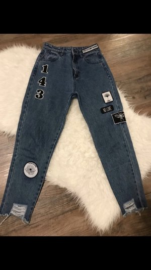 Musthave Mom Jeans Boyfriend Jeans Hose mit patches Blogger